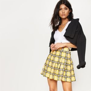 Pretty Little Thing Yellow Check Tennis Skirt